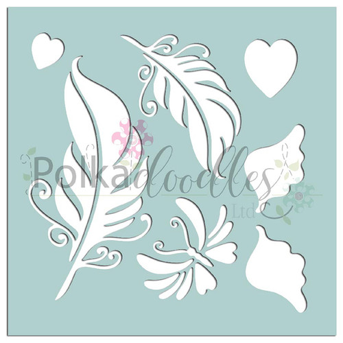 """Feathers & Wings - 6 x 6"""" creative craft mixed media stencil"""