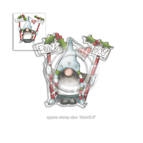Peace & Joy Gnome clear Stamp