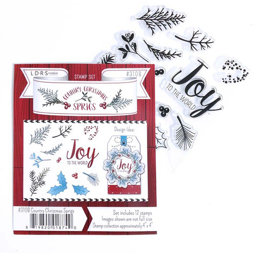 Country Christmas Sprigs - rubber stamp set