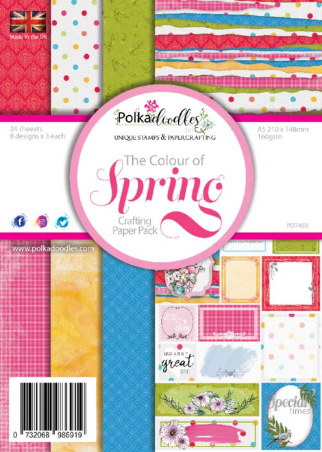 Colours of Spring A5 paper pack. Lovely A5 size paper pack for cardmaking. 21 x 15cm, 24 sheets - 8 designs x 3 of each on 250gsm cardstock. Made in the UK, fabulous quality.