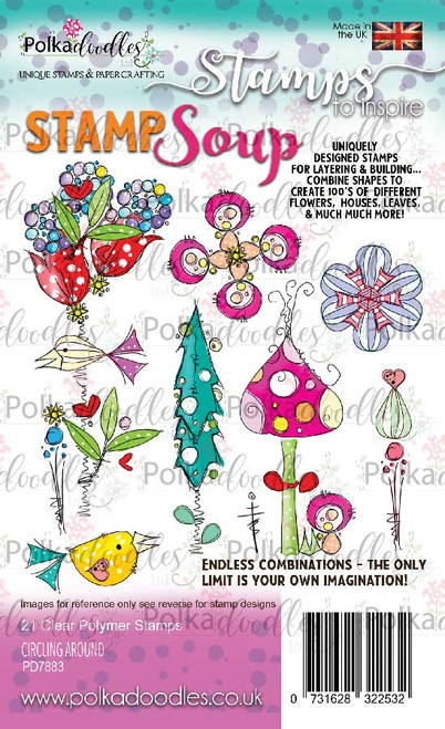 Stamp Soup Circling Around -  21 clear Polymer stamps