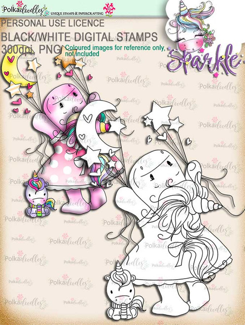 Love You to the Moon & Stars - Sparkle Unicorn digi stamp download