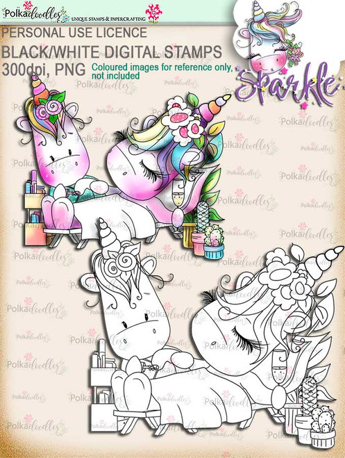 Pamper Day -  Sparkle Unicorn digi stamp download