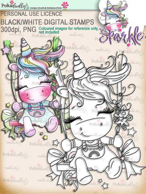 Swingin' By to Say Hi -  Sparkle Unicorn digi stamp download