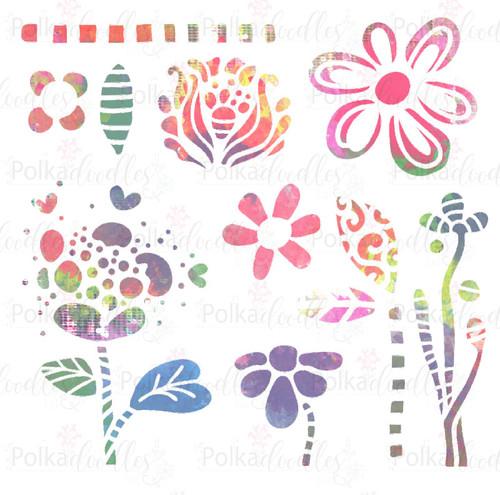 """Flower Doodles - 6x6"""" creative craft stencil"""