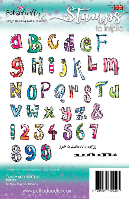 Funky Alphabet A5 stamp set -  39 clear Polymer stamps