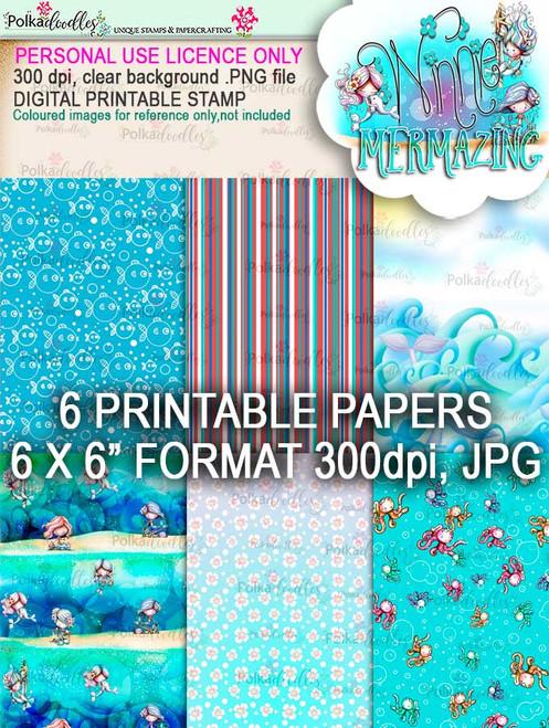 Mermazing papers - digital stamp download