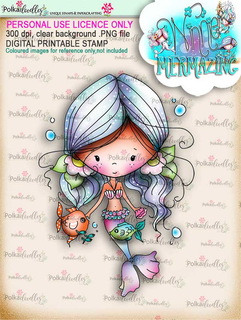 Winnie Mermaid Mermazing (pre-coloured) - Kisses digital stamp download