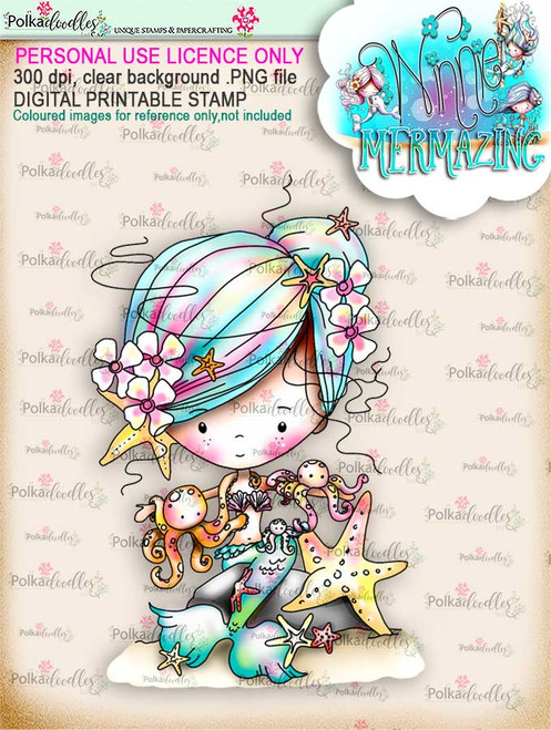Winnie Mermaid Mermazing (pre-coloured) - octopus kisses digital stamp download