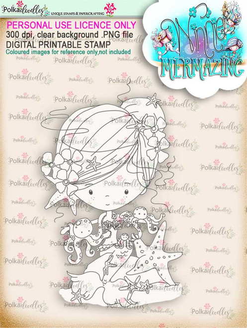 Winnie Mermaid Mermazing - octopus kisses digital stamp download