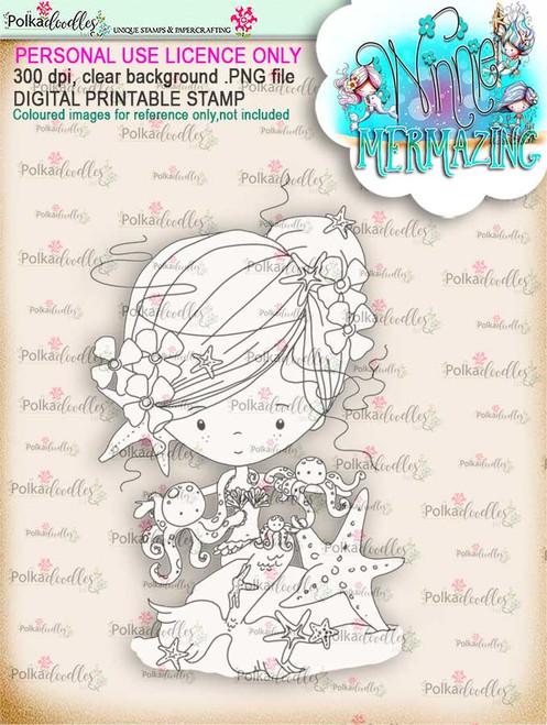 Winnie Mermaid Mermazing - octopus kisses digital stamp download
