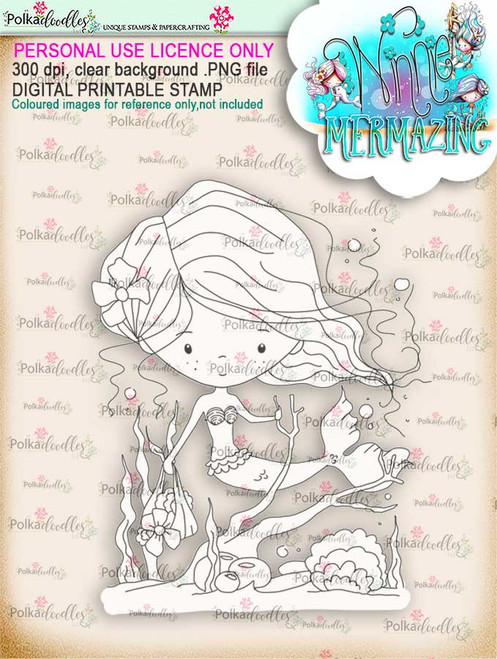 Winnie Mermaid Mermazing - collecting shells digital stamp download