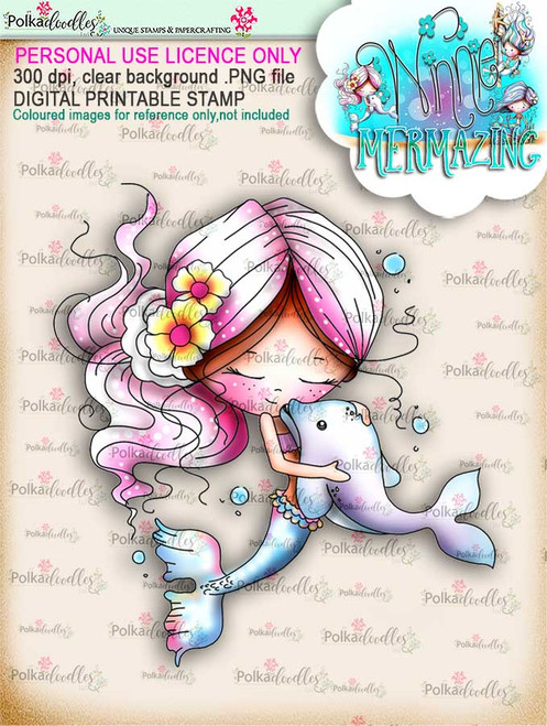 Winnie Mermaid Mermazing (precoloured) - best friends digital stamp download