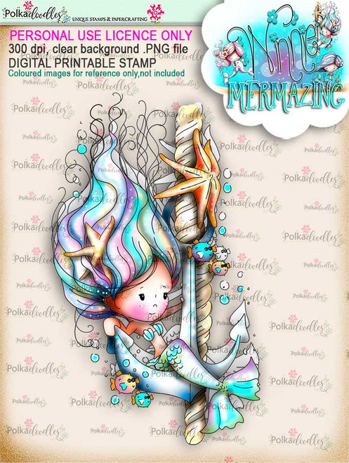 Winnie Mermaid Mermazing (precoloured)- Anchor's Away digital stamp download