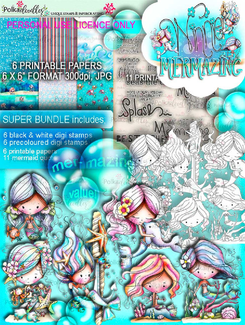 Winnie Mermaid Mermazing - super bundle digi scrap printable downloads