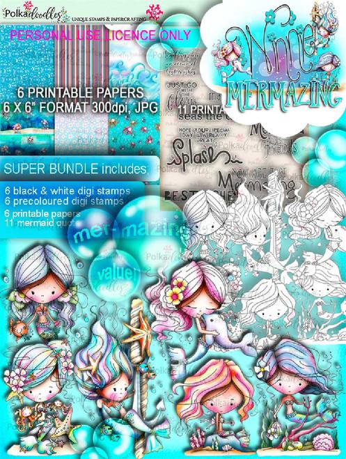 Winnie Mermaid Mermazing - super bundle digi scrap printable downloads