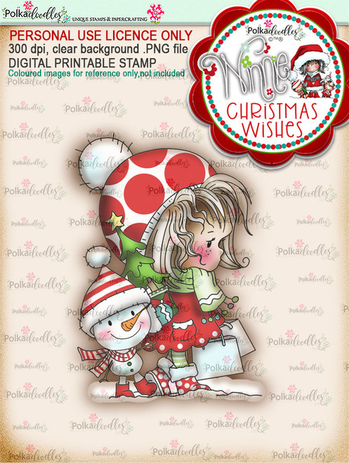 Snow Shopping (colour) - Winnie Christmas Wishes digi scrap printable download