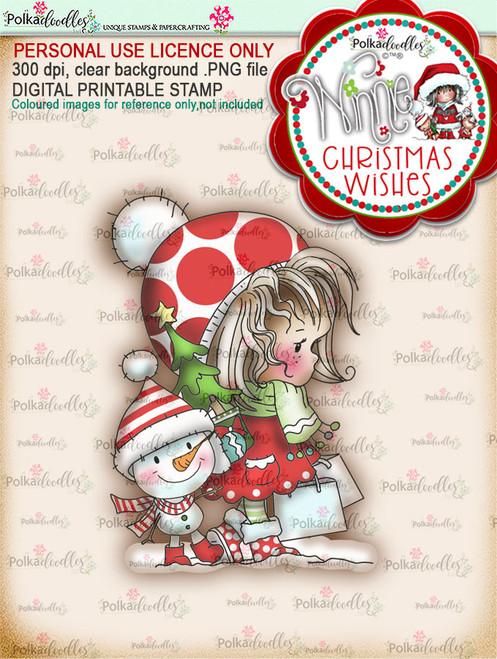 Snow Shopping (colour) - Winnie Christmas Wishes digi scrap printable download