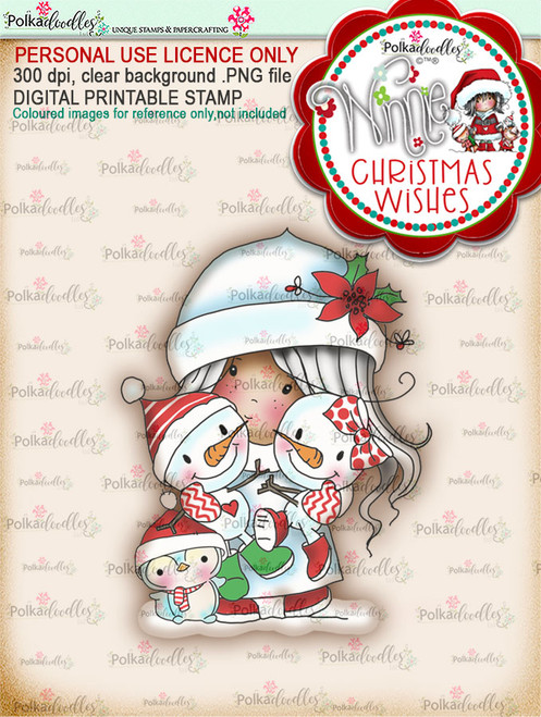 Friendly Cuddle (colour) - Winnie Christmas Wishes digi scrap printable download