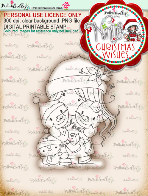 Friendly Cuddle - Winnie Christmas Wishes digi scrap printable download