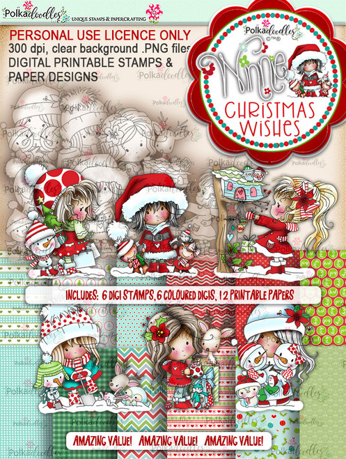 Winnie Christmas Wishes - Big Kahuna digi scrap printable download bundle