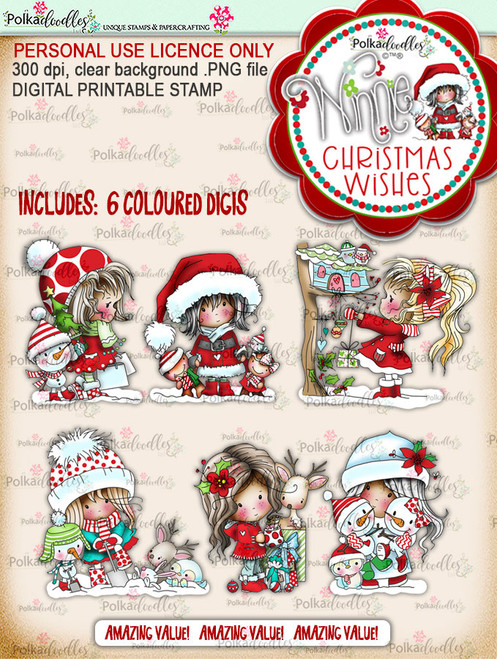 Winnie Christmas Wishes Colour Digi Stamps - digi scrap printable download bundle