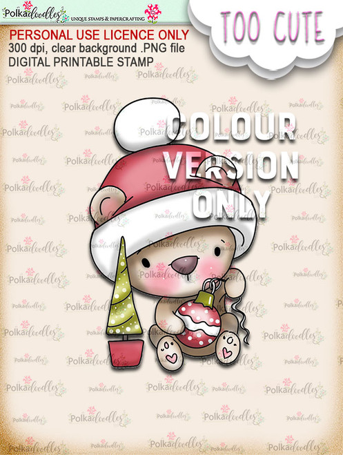 Bella Bear Bauble - coloured Too Cute digital papercrafting download