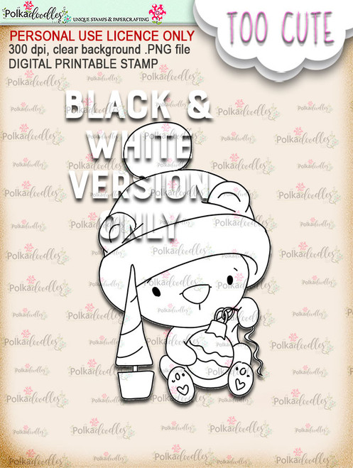 Bella Bear Bauble - Too Cute digital papercrafting download
