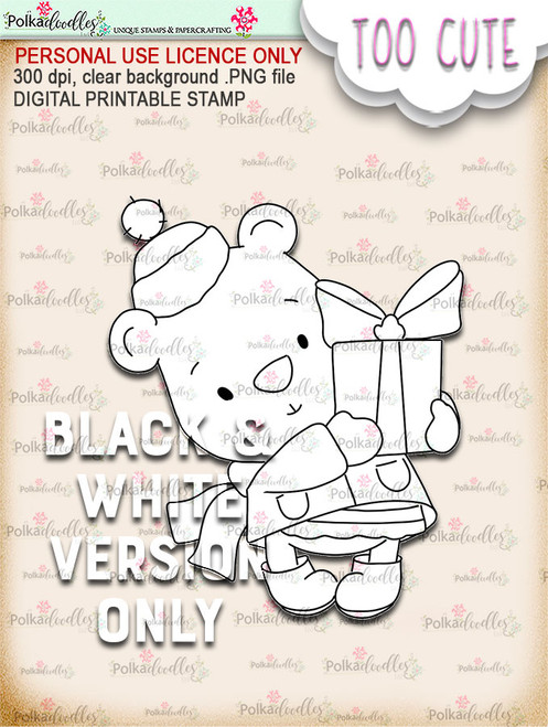 Bella Bear Gift - Too Cute digital papercrafting download