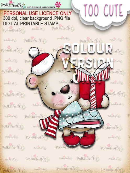 Bella Bear Gift - Coloured - Too Cute digital papercrafting download