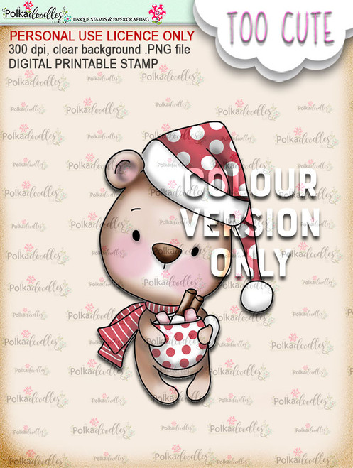 Bella Bear Hot Chocolate - Coloured - Too Cute digital papercrafting download