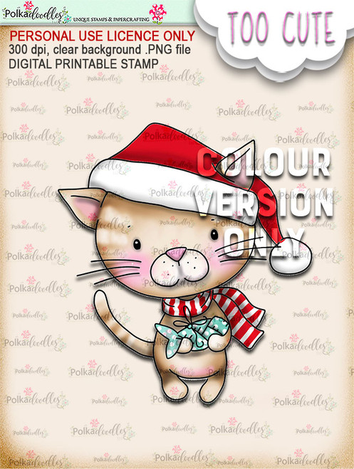 Kitty Fishes - Coloured - Too Cute digital papercrafting download