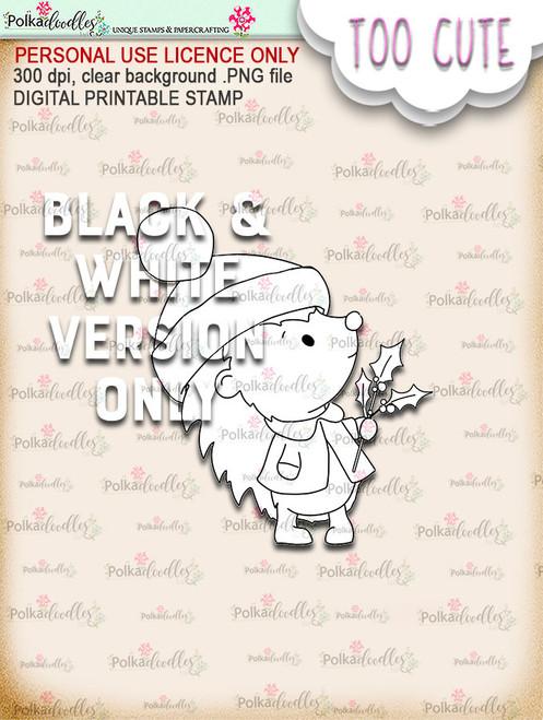 Holly Hedgehog - Too Cute digital papercrafting download