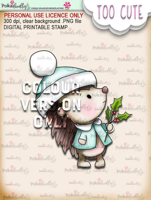 Holly Hedgehog - Coloured -Too Cute digital papercrafting download
