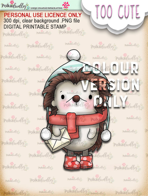 Holly Hedgehog Mail - Coloured -Too Cute digital papercrafting download