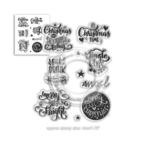 "Merry & Bright Christmas Greetings - clear Stamp set 4 x 6""/A6"