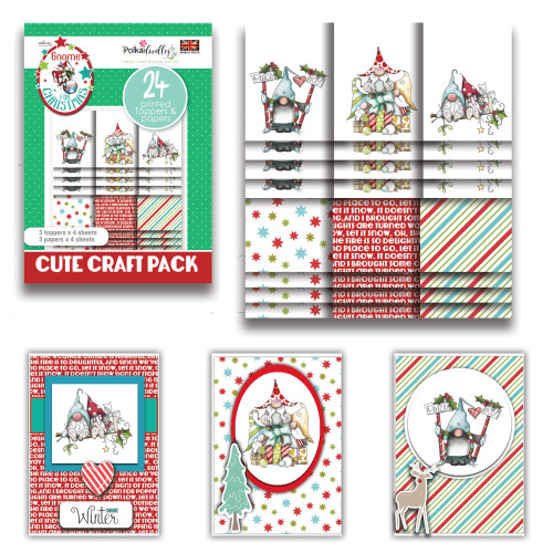 Gnome Together Xmas - Cute Craft Topper Pack - 24 sheets