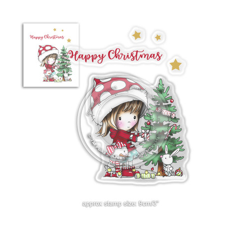 Christmas Tree Winnie Winter Wishes - CLEAR POLYMER STAMP
