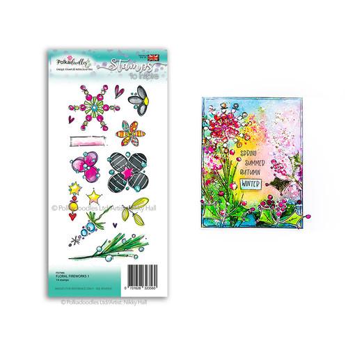Floral Fireworks 1 - large clear Polymer stamp set