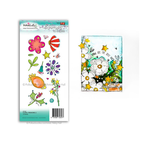 Floral Fireworks 2 - large clear Polymer stamp set