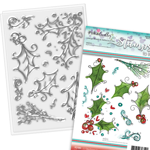 Ho Ho Holly - 11 Clear Polymer stamp set