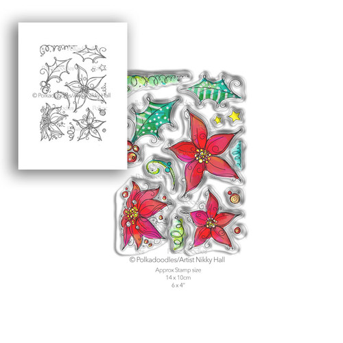 Perfect Poinsettias - 13 Clear Polymer stamp set