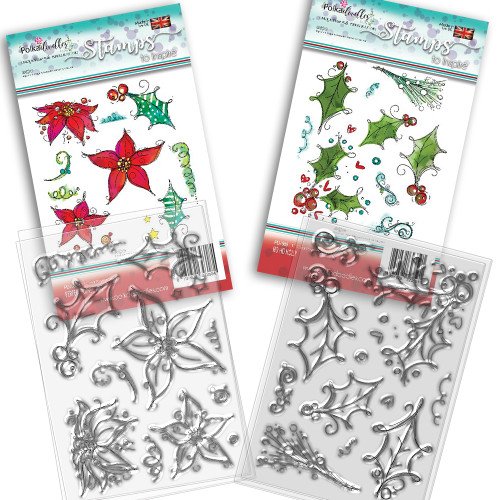 Ho Ho Holly Christmas stamp collection - 24 Clear Polymer stamp set