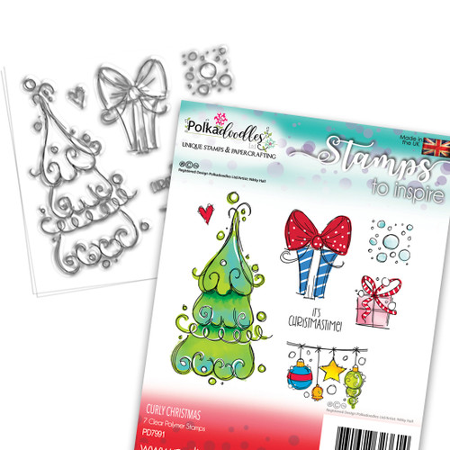 Curly Christmas stamp collection - 7 Clear Polymer stamp set