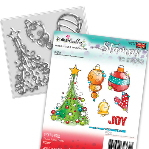 Deck the Halls Christmas stamp collection - 7 Clear Polymer stamp set