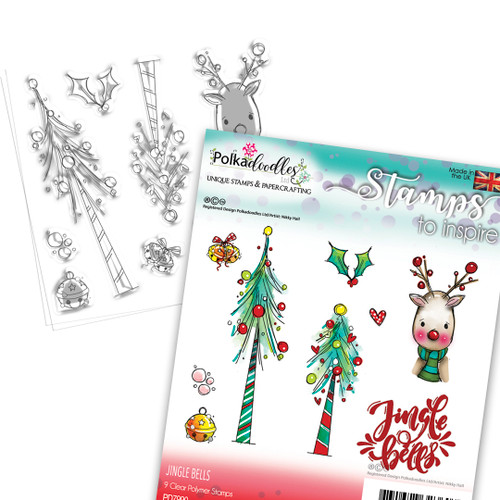 Jingle Bells Christmas stamp collection - 9 Clear Polymer stamp set