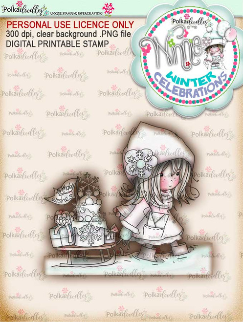 Party time - 'precoloured' Winnie winter celebration digital papercrafting download