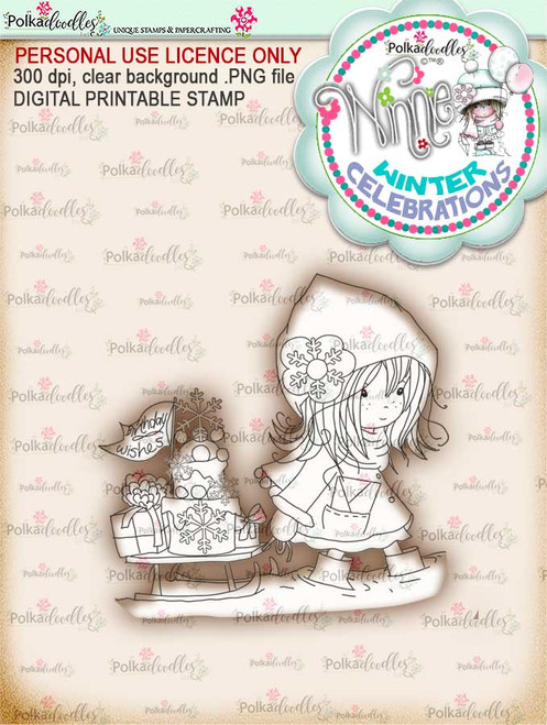 Party time - Winnie winter celebration digital papercrafting download