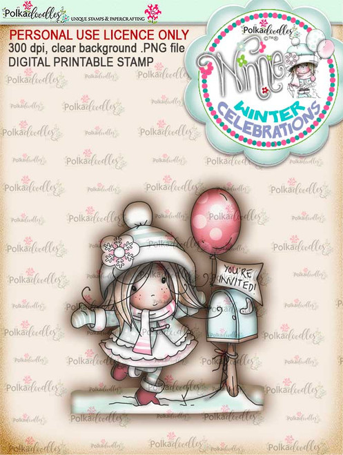"Invitation- ""precoloured"" Winnie winter celebration digital papercrafting download.   We created this gorgeous printable cardmaking digi for all of you who have Winter Birthdays and Celebration handmade cards to create this year! It can be difficult to find a digital stamp which is perfect for a Christmas Holiday Celebration, so try this lovely Winnie Winter Celebrations collection!   This is a great digital papercraft and scrapbooking download.   Make handmade cards with this cute winter birthday celebration printable digi stamp for downloading and printing at home. Perfect for all those Winter/Holiday/Christmas birthday celebrations you have to make over the winter season."