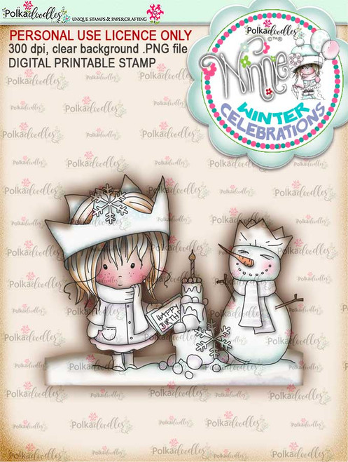 "Frozen birthday- ""precoloured"" Winnie winter celebration digital papercrafting download.   We created this gorgeous printable cardmaking digi for all of you who have Winter Birthdays and Celebration handmade cards to create this year! It can be difficult to find a digital stamp which is perfect for a Christmas Holiday Celebration, so try this lovely Winnie Winter Celebrations collection!   This is a great digital papercraft and scrapbooking download.   Make handmade cards with this cute winter birthday celebration printable digi stamp for downloading and printing at home. Perfect for all those Winter/Holiday/Christmas birthday celebrations you have to make over the winter season."